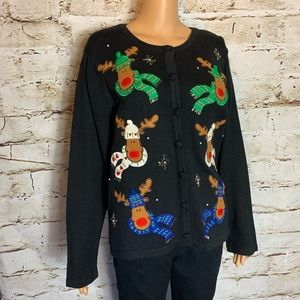NEW Rudolf Ugly Christmas Button Up Sweater